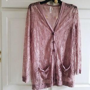 Sweaters - Boutique floral mauve purple plum lace cardigan